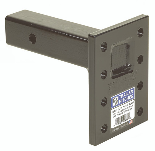 BW14003 --- Receiver Mounted Pintle Hook Adapter w/Long Shank - 8 Holes - 16,000 lb Capacity - Made in the USA