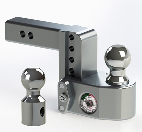 """WS42 --- 2"""" Weigh Safe Adjustable Aluminum Ball Mount with Scale, 4"""" Drop"""
