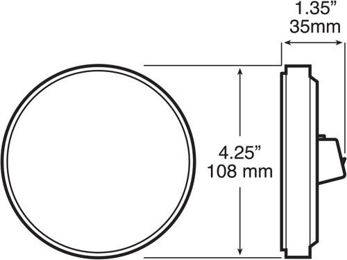 """LED817SR-9 --- Red LED LumenX® 4"""" Round Strobe Light"""