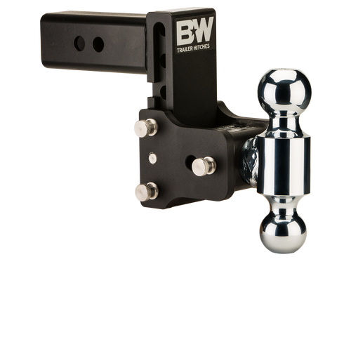"BW20037B --- B&W 2.5"" Shank Tow and Stow Adjustable Ball Mount with Two Hitch Balls, 5"" Maximum Drop"