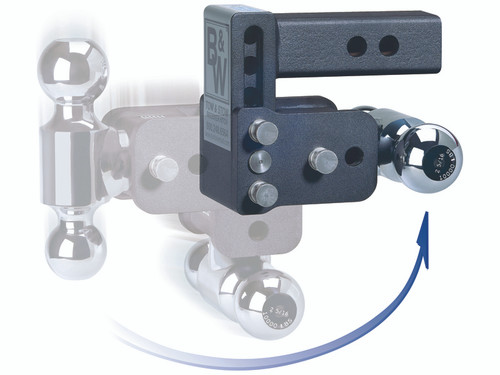 "BW20037C --- B&W 2.5"" Shank Tow and Stow Adjustable Ball Mount with Two Hitch Balls, 5"" Maximum Drop"