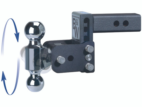 "BW20040C --- B&W 2.5"" Shank Tow and Stow Adjustable Ball Mount with Two Hitch Balls, 7"" Maximum Drop"