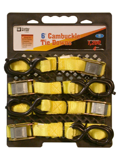 "BTS-16-4PK --- Standard Duty Tie Down Strap with Cam Buckle- S Hook End Fittings - 1"" x 6'"