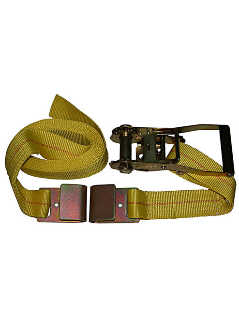 "HD-15FT --- Heavy Duty Tie Down Strap with Ratchet - Flat Hook End Fittings - 2"" x 15'"