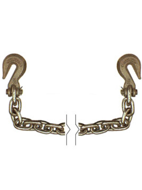 """G7012X20 --- 1/2"""" Transport Chain Assembly with 3/8"""" Clevis Grab Hooks on Both Ends - Grade 70"""