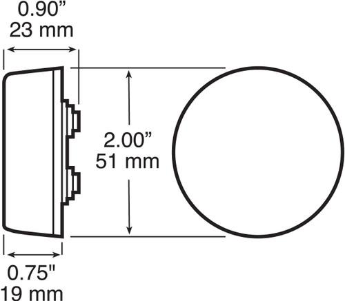 "LED146R4 --- Round 2"" Sealed LED Clearance/Side Marker Light - 3 Diodes"