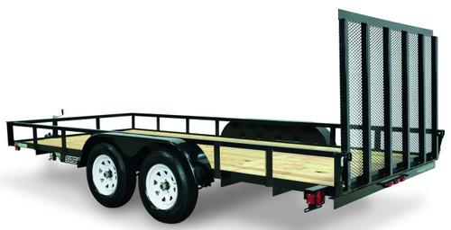 """STR8216G-E1 --- 82"""" x 16' Trailer with 11"""" Rails and Ramp Gate"""