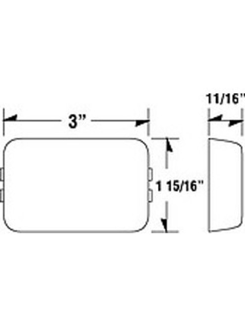 LED129A2 --- LED Rectangular Sealed Clearance/Side Marker Light - Amber