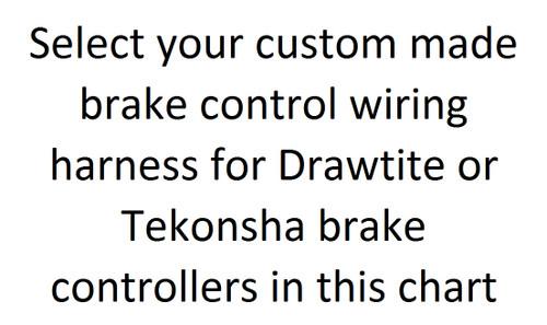 Drawtite, Tekonsha & Hayes  Brake Control Wire Harness Chart