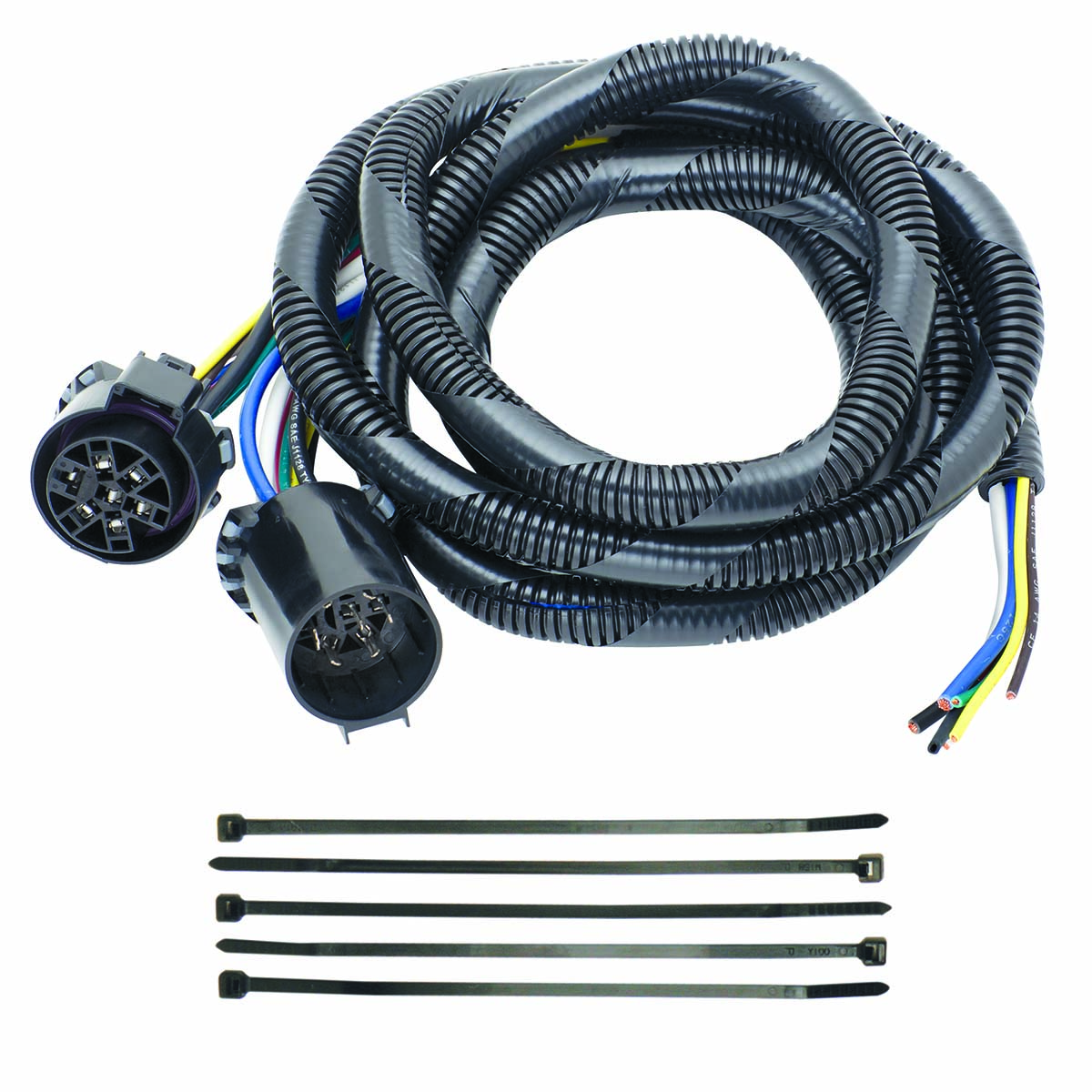 20140 --- 5th Wheel Adapter Harness -7-Way Flat Pin U.S. Car Connector  Assembly 7' with Pigtail - Croft Trailer Supply