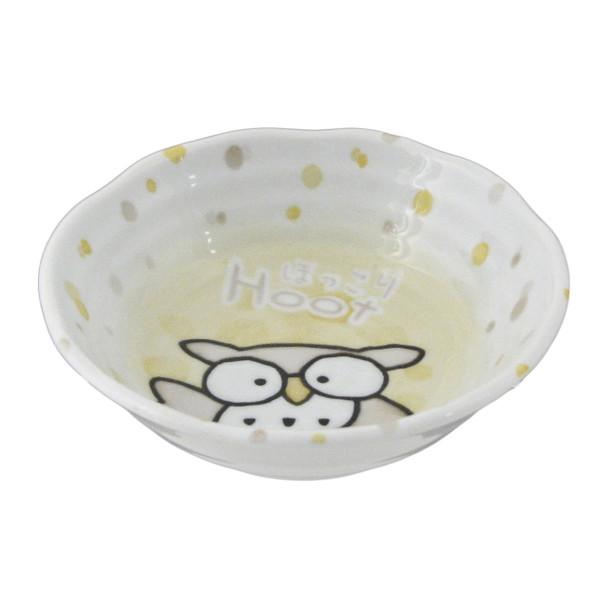 """Yellow Hoot Cute Owl Face Bowl 5.25""""D"""