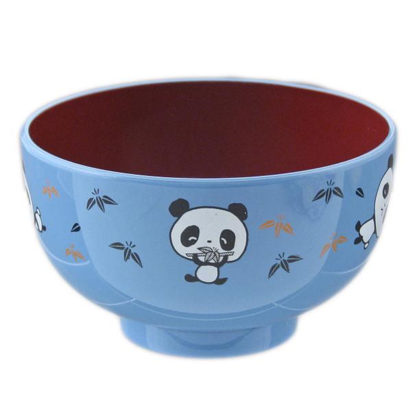 """Kids Panda Bowl 3.75""""D Lacquer, Blue"""