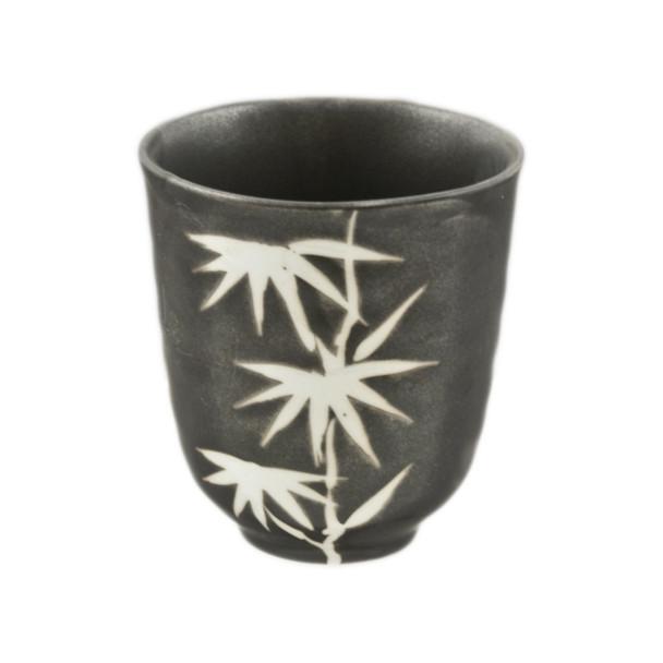 "Bamboo Print Tea Cup 3.25""H, Black/White"