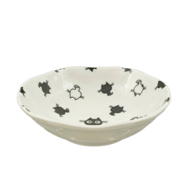 "Kids Black/White Kitty Bowl 6.5""D, Set of 2"
