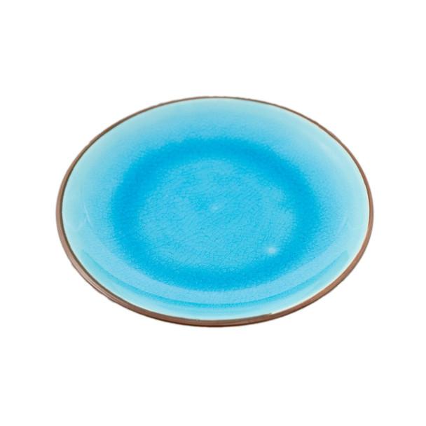 "Two Tone Reactive Glaze Blue Plate 7""D"