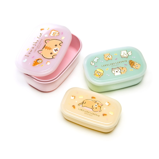 Coronya Cat Lunch Box Seal Container 3pc Set, Pink