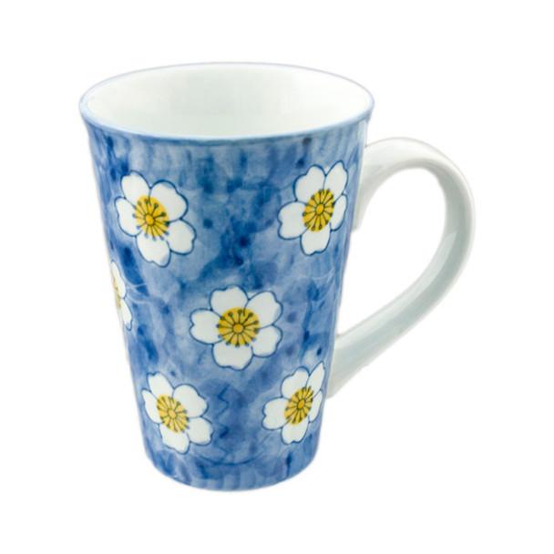 Flowering Porcelain Mug 16oz, Daisy Blue