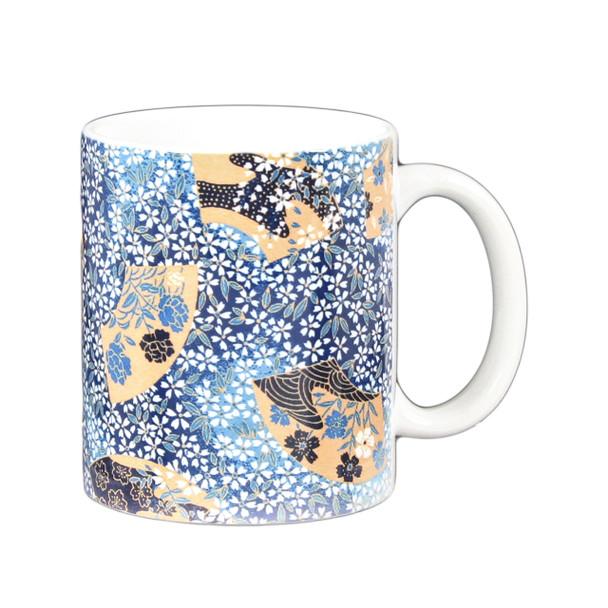 Blue Gold Mozaic Flower Mug 11oz