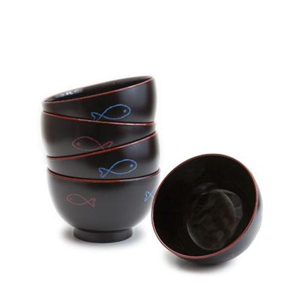 Blue & Red Fish Lacquer Miso Soup Bowl Set - 5pcs
