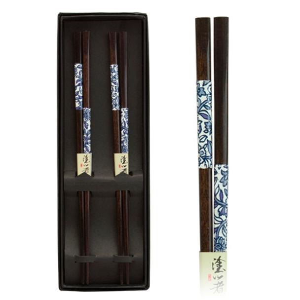 Blue Leaf Pattern Chopstick Set