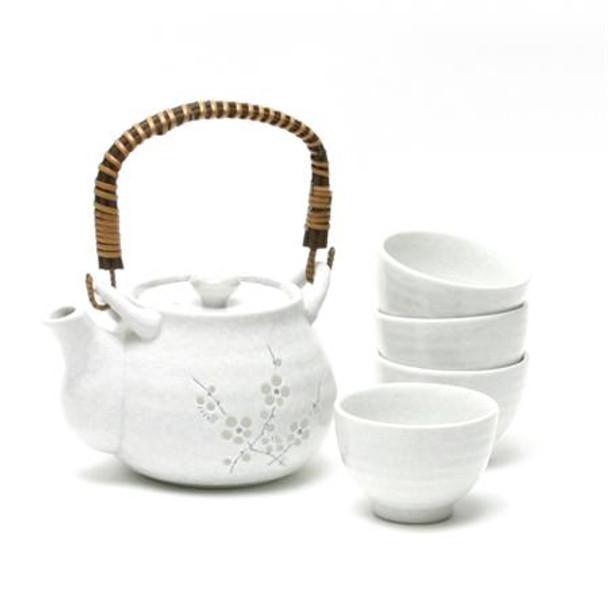 White Ume Blossom Tea Set