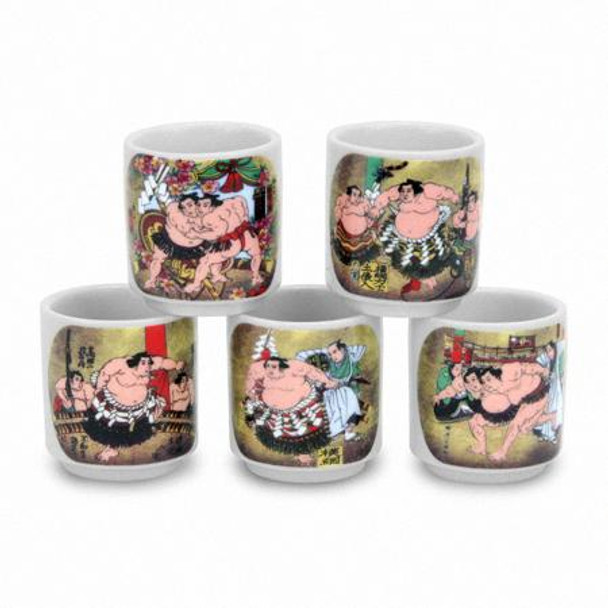 Japanese Sumo Sake Cups (Set of 5)