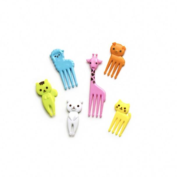 PakuPaku Lunch Animal Fruit Forks Bento Assorted- 6pc