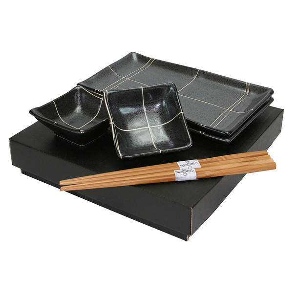 Elegant Black & White Lined Plate Set