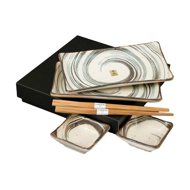 Beige Swirled Plate Set