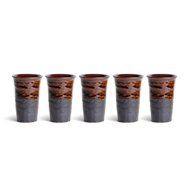 Chestnut Brown & Black Teacup Set - 5pcs