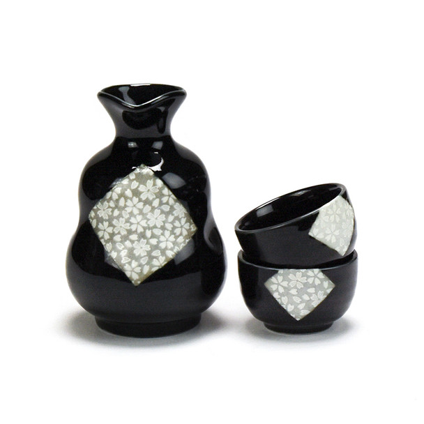 Kafuh Japan Belly Black Diamond Sakura Sake Set