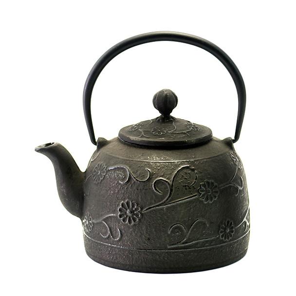 Rikyu Floral Cast Iron Teapot - Black