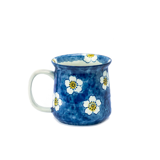 Blue and Yellow Cherry Blossom Mug