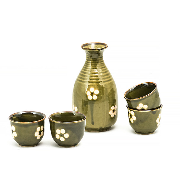 Floral Olive Green Sake Set