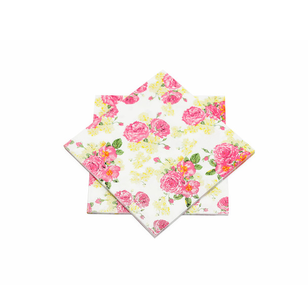 """Pink and Yellow Floral Paper Napkins 6.5"""" - 10 sheets"""