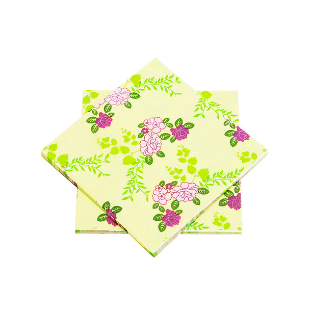 """Purple and Yellow Floral Paper Napkins 6.5"""" - 10 sheets"""