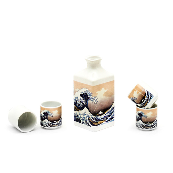 The Great Wave Off Kanagawa Square Bottle Sake Set