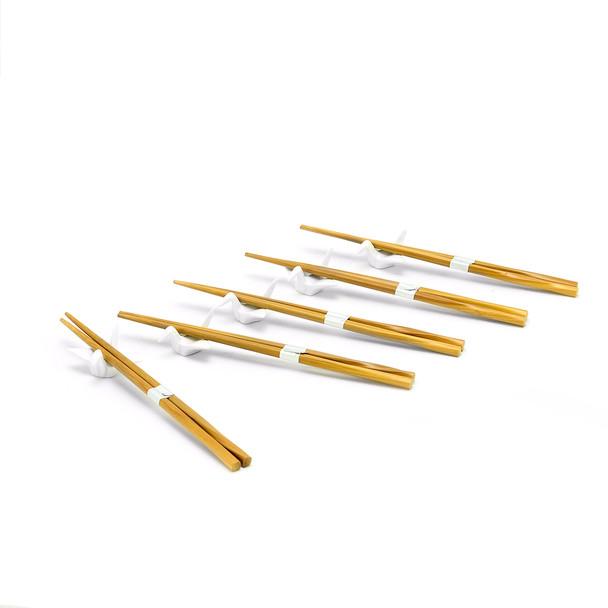 Chopstick and Origami Ceramic Crane Rest 5pcs Set