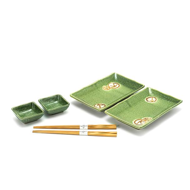 Green Nature Sushi Plate Set