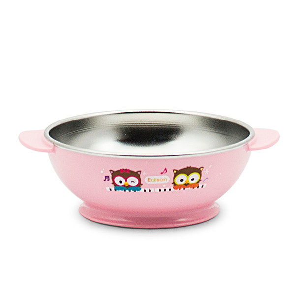 Edison Owl Non-Slip Soup Bowl - Pink 13oz