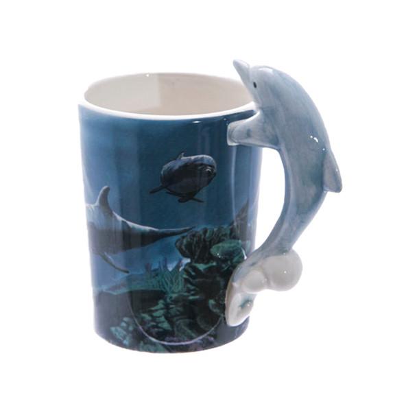 Dolphin Shaped 3D Handle Mug