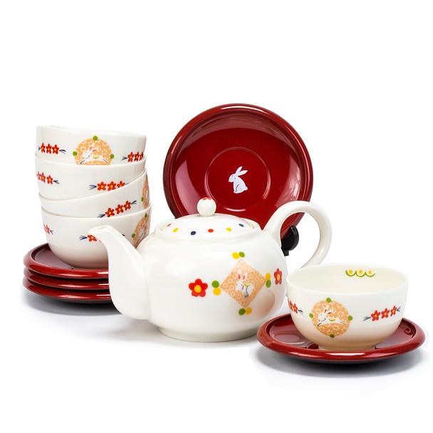 Porcelain Rabbit Teacup, Saucer, Teapot Set / Duo Dessert Cup Set – 5 serving set
