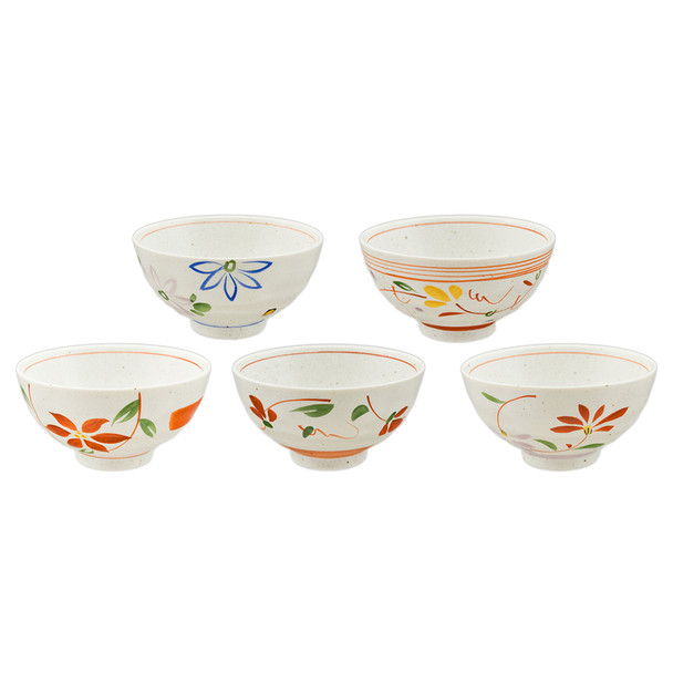 Earthen Flower Assorted Rice Bowl Set