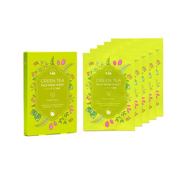 VIA Face Mask Sheet - Green Tea (5 pc)