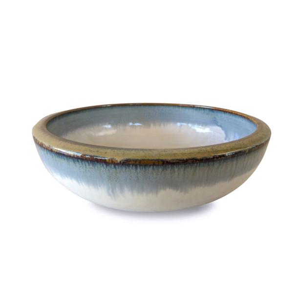 "Reactive Glaze Shallow White/Blue Serving Bowl with Gold Rim 9.25"""