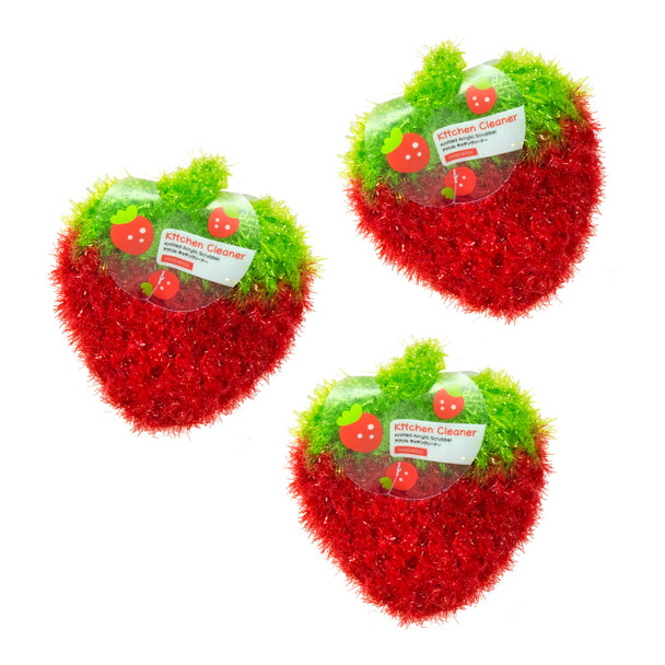 Kitchen Cleaner Tawashi Knitted Scrubber 3pc (Red)