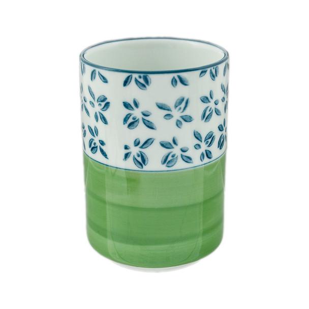 """Blue Flower Green Stroke Tea Cup 4.25"""""""
