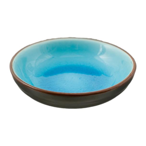 """Two Tone Reactive Glaze Blue Bowl 5.75""""D"""