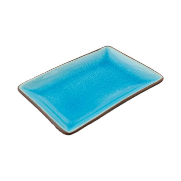 """Two Tone Reactive Glaze Blue Plate, 6.5""""x4.5"""""""