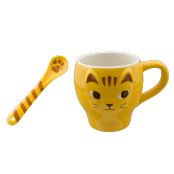 Yellow Cat Coffee Mug Cup with Spoon 12oz
